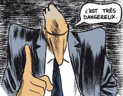 """Col blanc qui dit """"C'est très dangereux"""""""