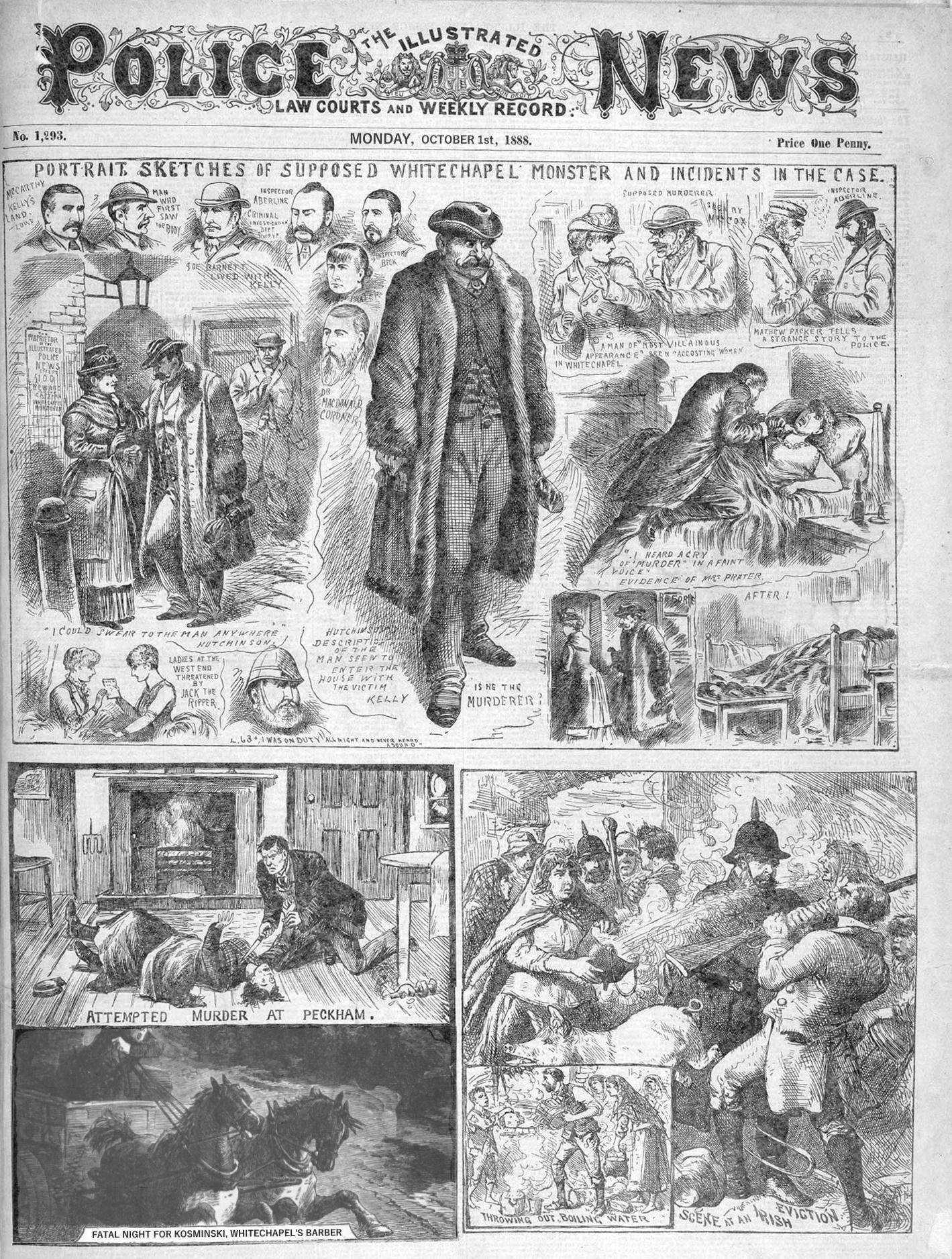 """Page de journal """"The Illustrated Police News"""", mentionnant une nuit fatale pour le barbier de Whitechapel"""